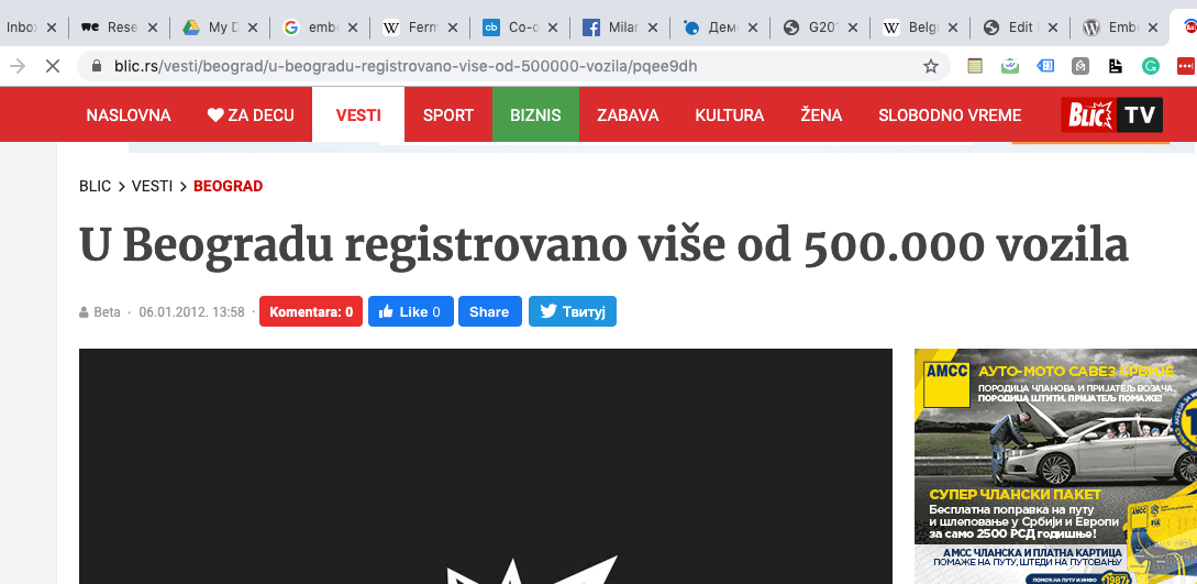 broj registrovanih automobila u beogradu